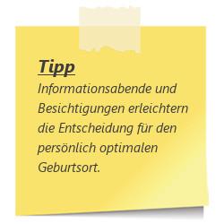 Tipp zur SSW 28: Informationsabende zum Geburtsort